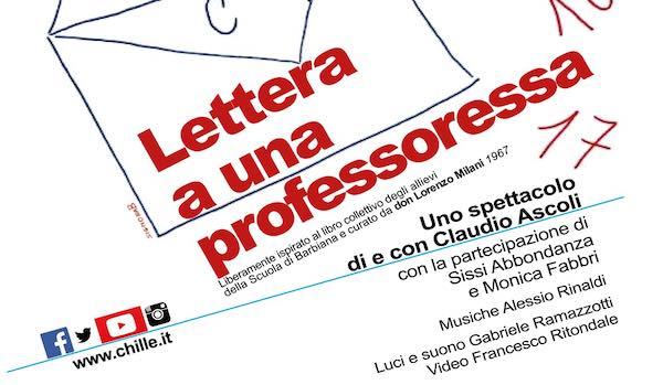 """Claudio Ascoli porta """"Lettera a una professoressa"""" al Teatro Boni"""