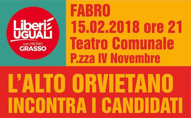 """I candidati di """"Liberi e Uguali"""" incontrano i cittadini al Teatro Comunale"""