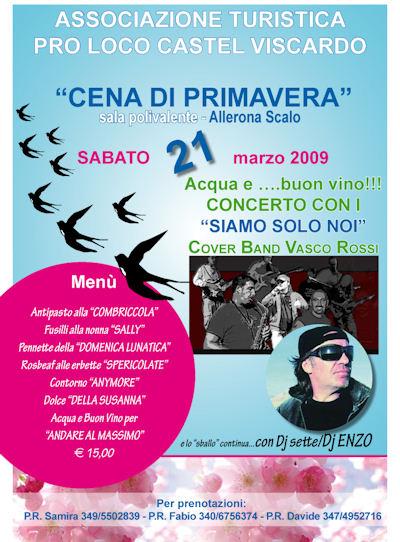 """Sabato 21 marzo """"Cena di Primavera"""" ad Allerona Scalo"""