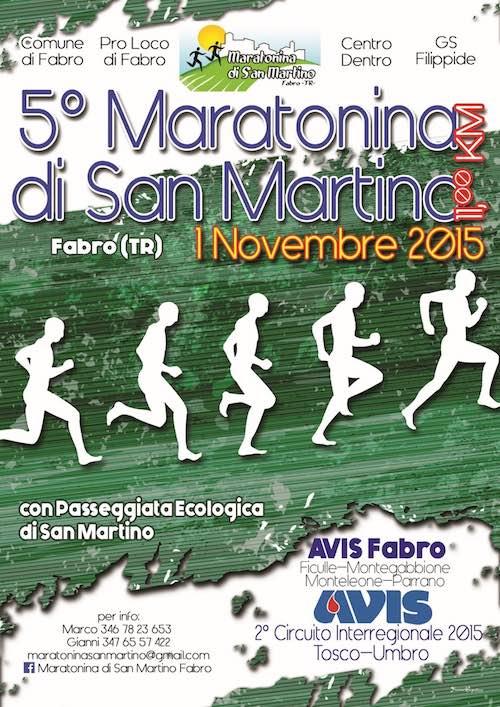 """Torna a novembre per la quinta edizione la """"Maratonina di San Martino"""" di Fabro"""