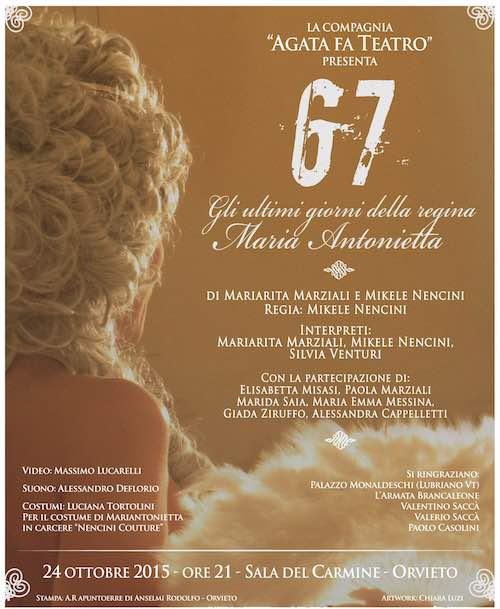 """""""Agata fa Teatro"""" in scena il 24 ottobre con """"67 Gli ultimi giorni della regina Maria Antonietta"""""""