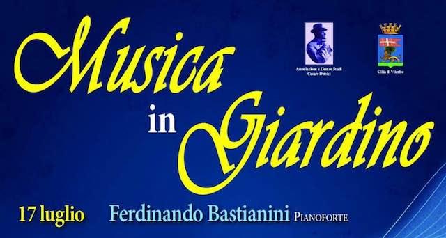 """Il pianoforte di Ferdinando Bastianini apre """"Musica in Giardino"""""""