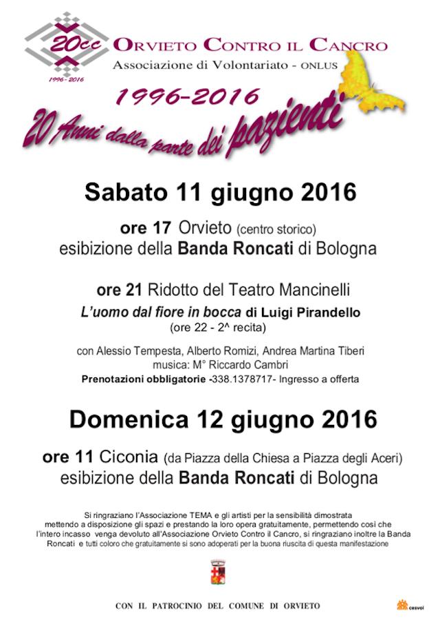 Doppio appuntamento a giugno con Orvieto contro il Cancro