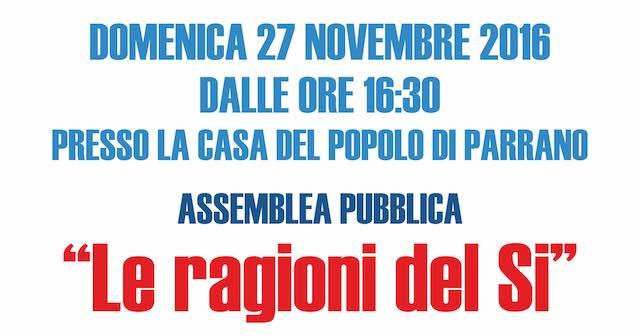 """Verso il referendum, alla Casa del Popolo assemblea pubblica su """"Le ragioni del Sì"""""""