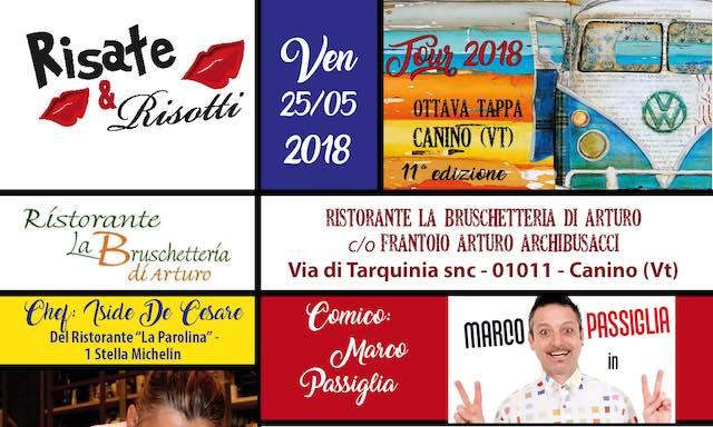 """Marco Passiglia e Iside De Cesare protagonisti dell'ottava tappa di """"Risate & Risotti"""""""