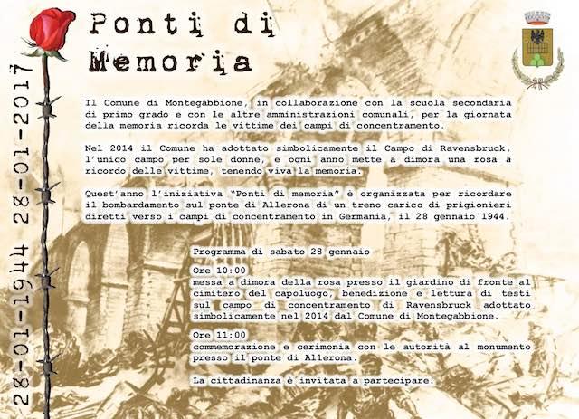 """""""Ponti di Memoria"""" per ricordare il bombardamento sul ponte di Allerona"""