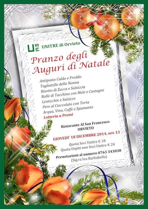"""Al San Francesco torna il """"Pranzo degli Auguri di Natale"""" dell'Unitre"""