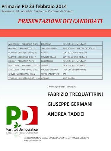 Presentazione dei candidati Pd. Il calendario degli incontri
