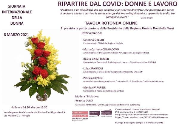 """Tavola rotonda online """"Ripartire dal Covid: donne e lavoro"""""""