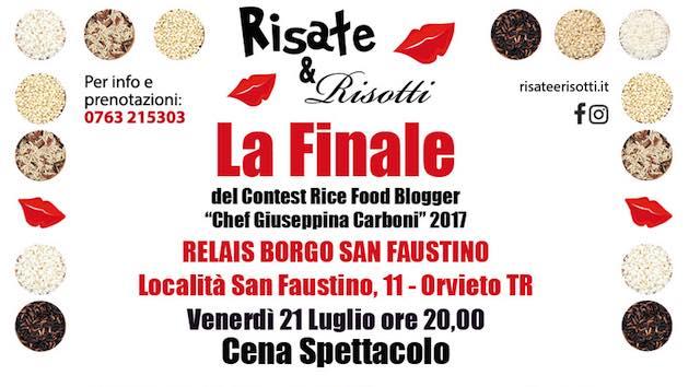 """Risate&Risotti 2017, gran finale con il Contest Rice Food Blogger """"Chef Giuseppina Carboni"""""""
