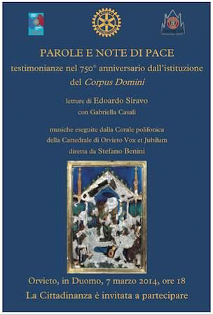 Parole e note di pace. Testimonianze nel 750esimo anniversario dall'istituzione del Corpus Domini