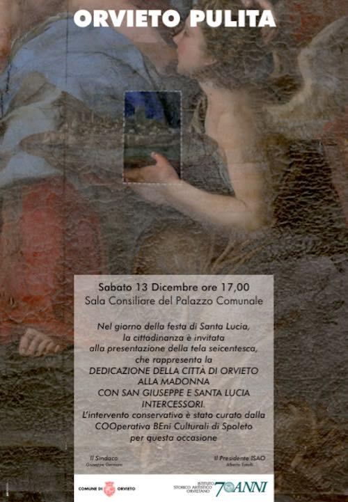 """""""Orvieto Pulita"""". Presentazione della tela seicentesca che raffigura la dedicazione della città"""