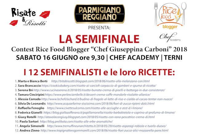 """Semifinale per il Contest Rice Food Blogger """"Chef Giuseppina Carboni"""" 2018"""
