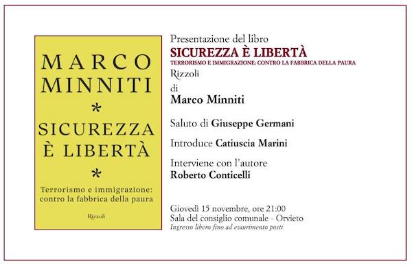 """""""Sicurezza è libertà"""". Incontro in Comune con l'ex ministro Marco Minniti"""