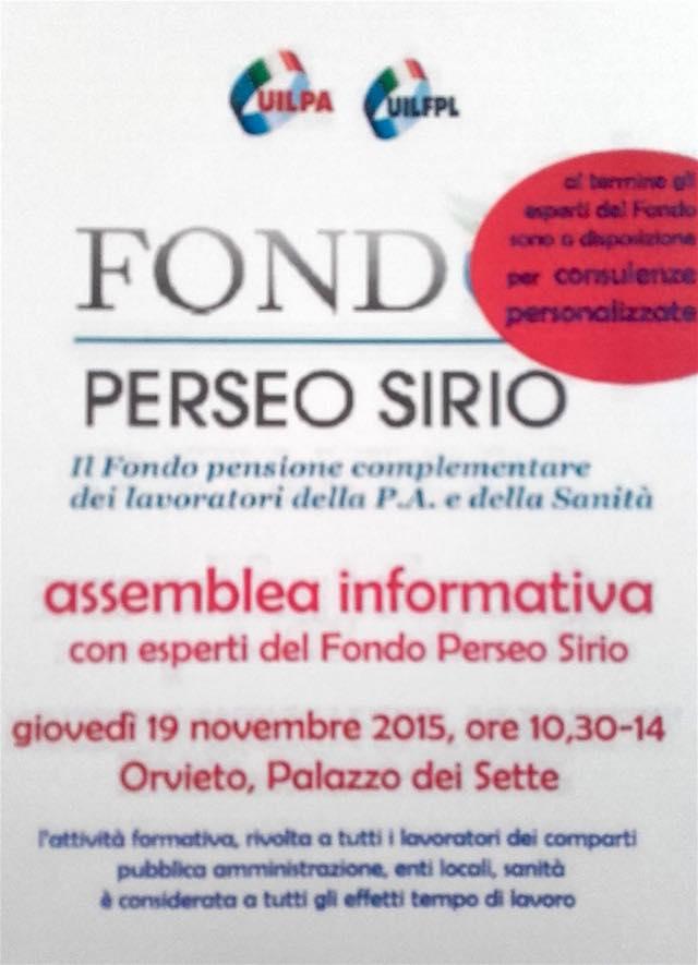 Assemblea Fondo Perseo Sirio, a Palazzo dei Sette con UilPa e UilFpl