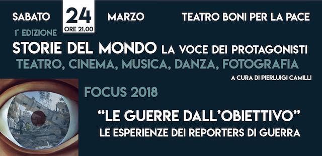 Al Teatro Boni, le esperienze dei reporter di guerra