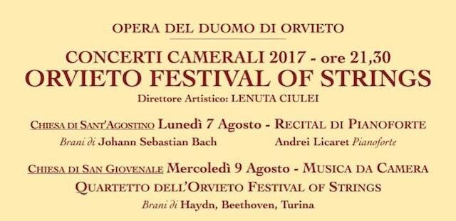 """Sedicesima edizione per """"Orvieto Festival of Strings"""". Concerti camerali in Duomo, Sant'Agostino e San Giovenale"""
