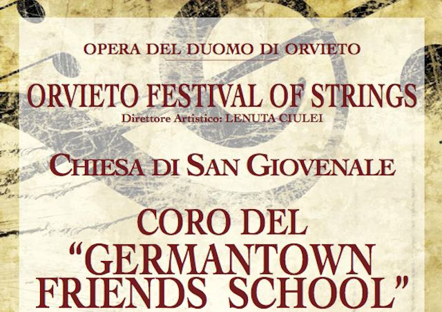 """Germantown Friends School Choir"" di Philadephia in concerto a S.Giovenale per ""Orvieto Festival of Strings"""