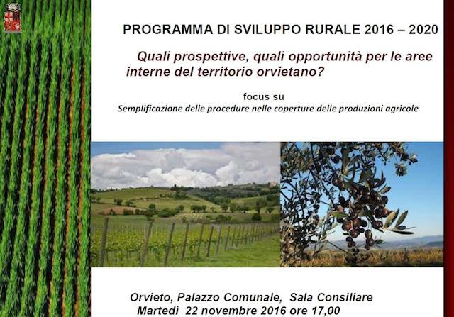 """Programma di sviluppo rurale 2016/2020. """"Quali prospettive e opportunità per il territorio orvietano?"""""""