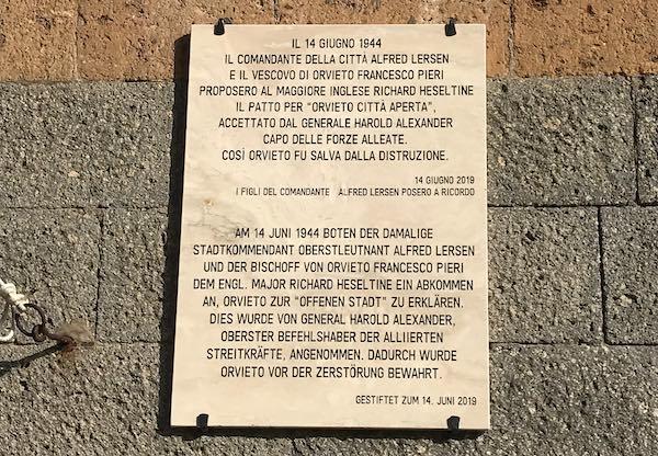 """""""Orvieto Città Aperta"""", svelata la targa commemorativa"""