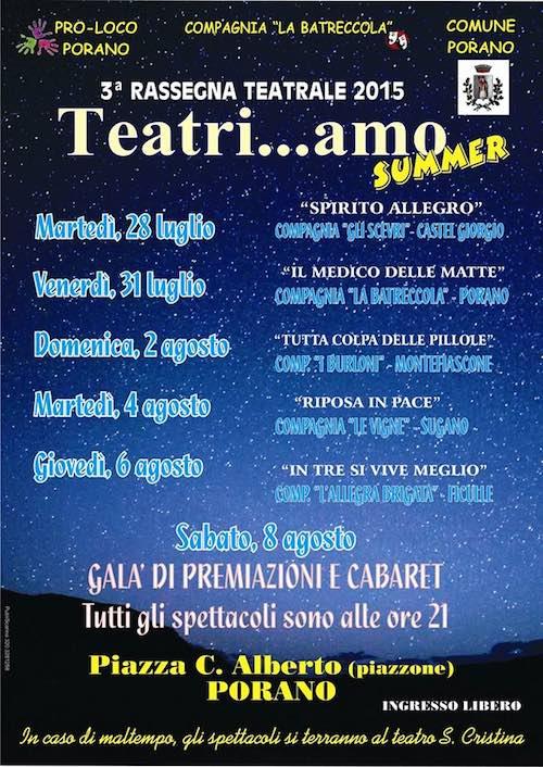 """Terza edizione per """"Teatri...amo Summer"""". Il teatro amatoriale diverte Porano"""
