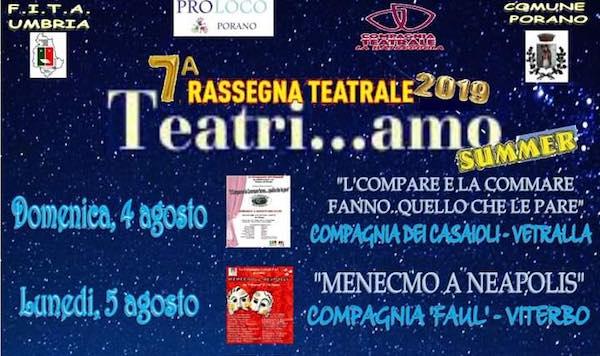 """Settima edizione per la rassegna """"Teatri...amo Summer"""" al Piazzone"""