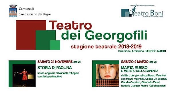 Su il sipario al Teatro dei Georgofili, sette proposte da novembre ad aprile