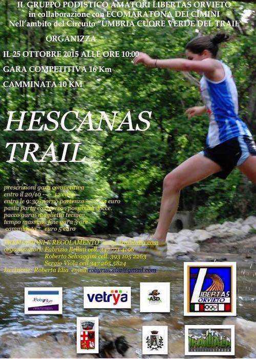 """Seconda edizione per la corsa podistica """"Hescanas Trail"""""""