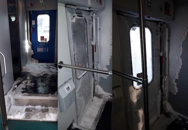 """In viaggio sui """"Carri Frigo"""". I pendolari ribattezzano il R2321 """"Palla di neve"""""""