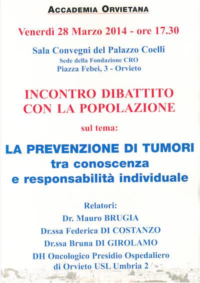"""L'Accademia Orvietana promuove """"La prevenzione di tumori tra conoscenza e responsabilità individuale"""""""