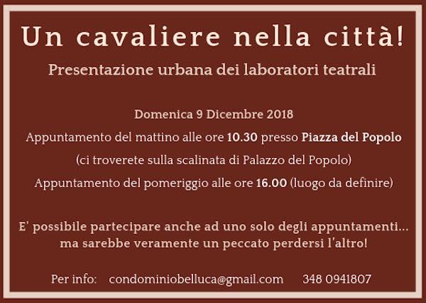 """""""Un cavaliere nella città!"""". Condominio Belluca presenta i laboratori teatrali"""