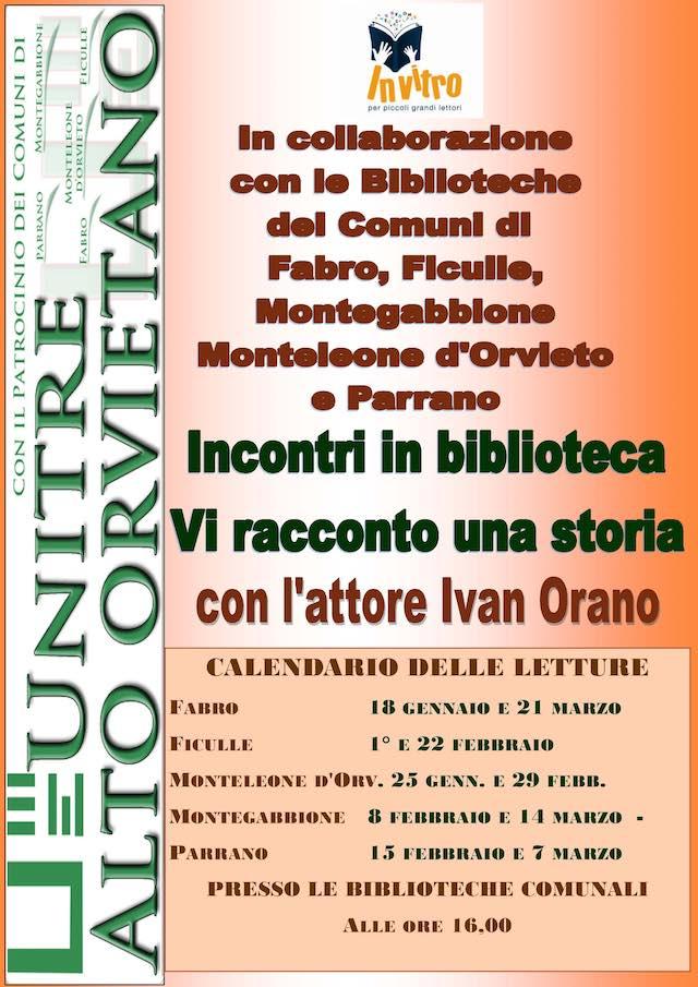"""Progetto """"Incontri in biblioteca: vi racconto una storia"""" per l'Unitre dell'Alto Orvietano"""
