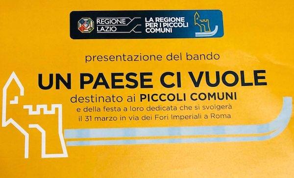 Piccoli Comuni, festa per il bando della Regione Lazio da 2 milioni di euro