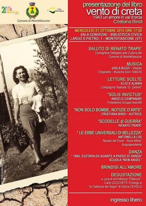 """Cristiana Bindi presenta """"Vento di Creta, 1943. Un Amore in Val d'Orcia"""""""
