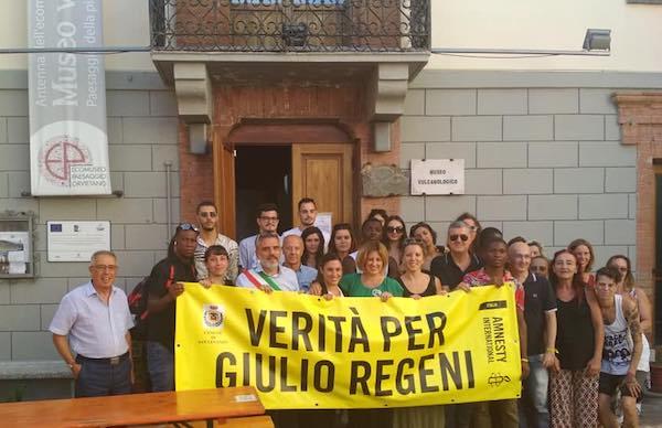 """Con uno striscione, San Venanzo chiede """"Verità per Giulio Regeni"""""""