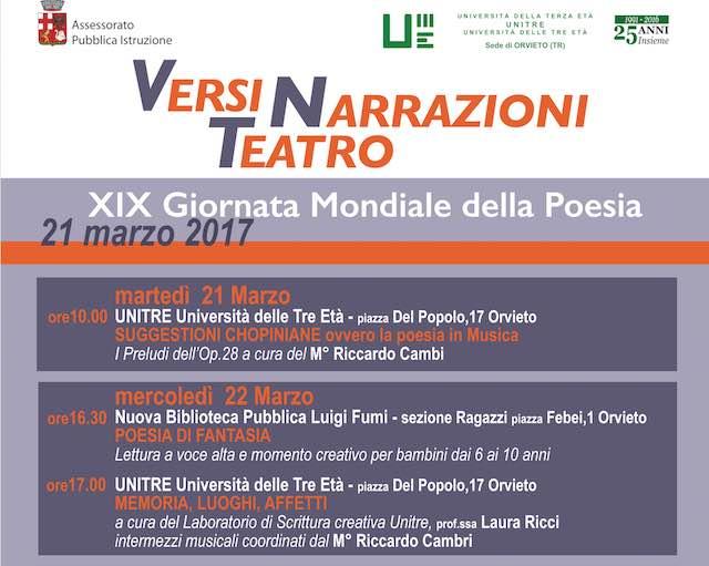 Versi, narrazioni, teatro. Una settimana di eventi per la Giornata Mondiale della Poesia